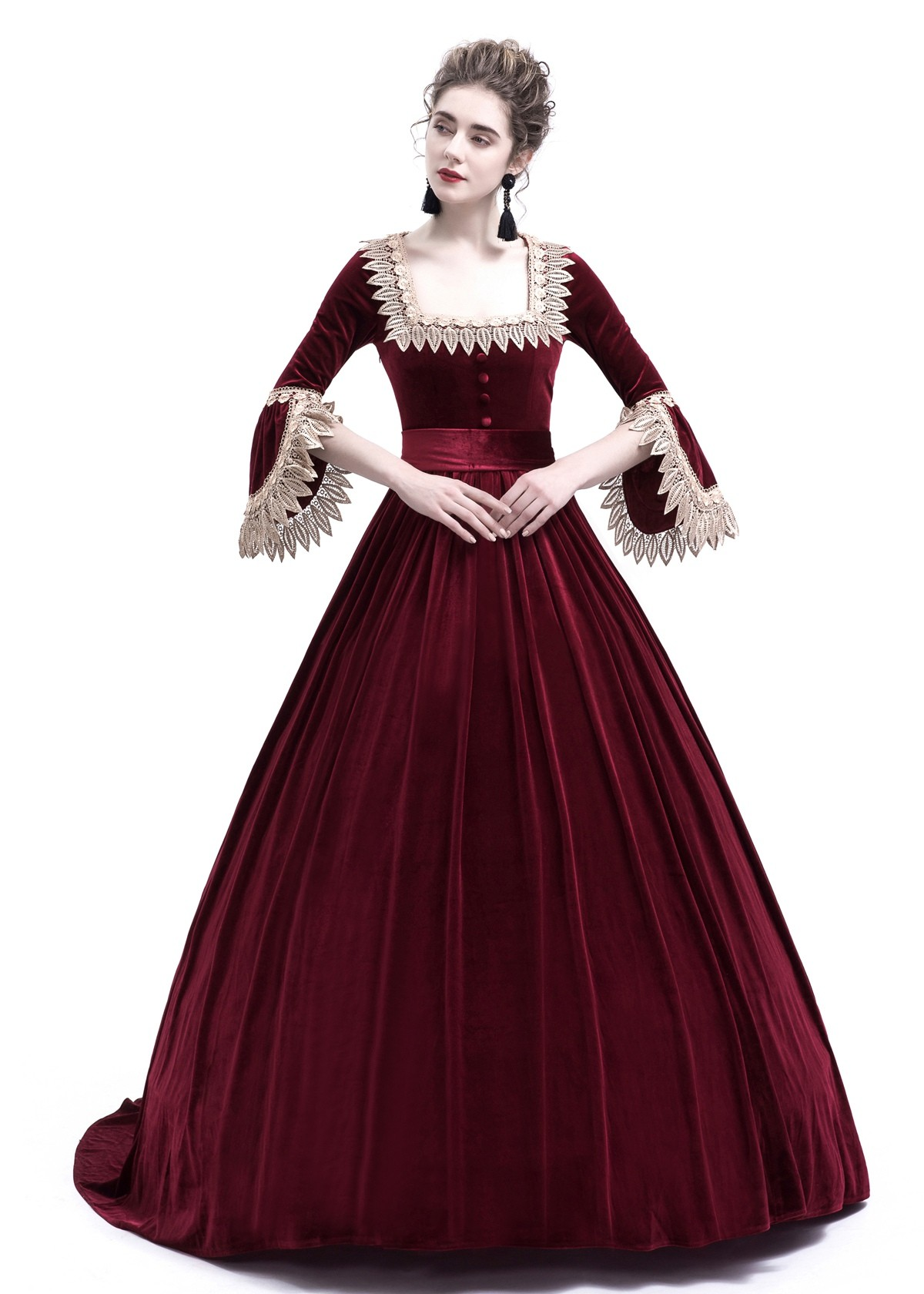 Red Velvet Ball Gown Victorian Gown D3008 - D-RoseBlooming