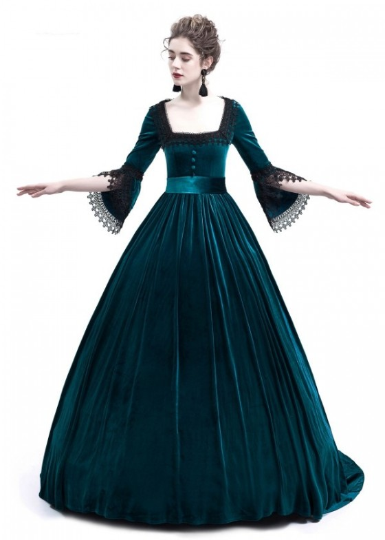 Blue Velvet Ball Gown Victorian Gown D3010