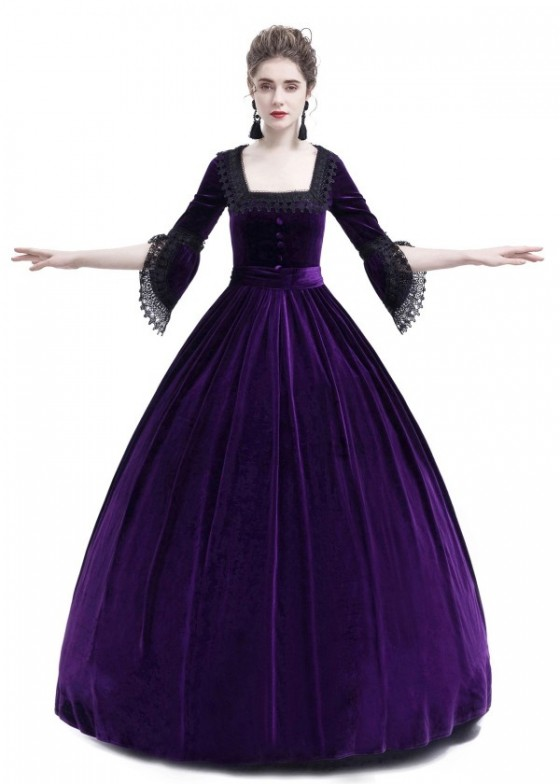 Purple Velvet Ball Gown Victorian Gown D3011
