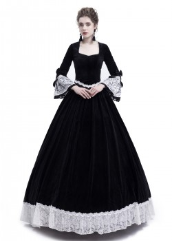 Black Velvet Civil War Theatrical Victorian Dress D3007