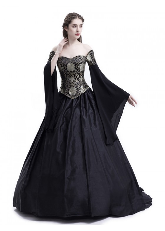 Black Fancy Theatrical Victorian Dress D3002