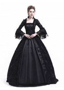 Black Flower Masquerade Gothic Victorian Dress D3021
