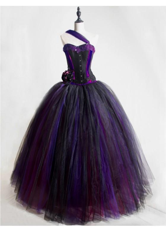 Romantic One-Shoulder Gothic Corset Prom Party Long Dress D1046