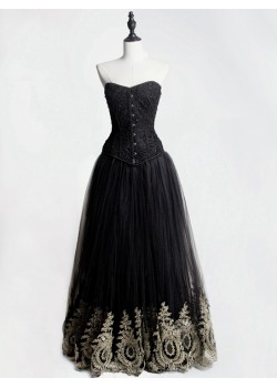 Black Gothic Corset Prom Party Long Dress with Gold Lace Hem D1049