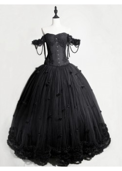 Black Gothic Flower Off-the-Shoulder Corset Prom Long Dress D1050