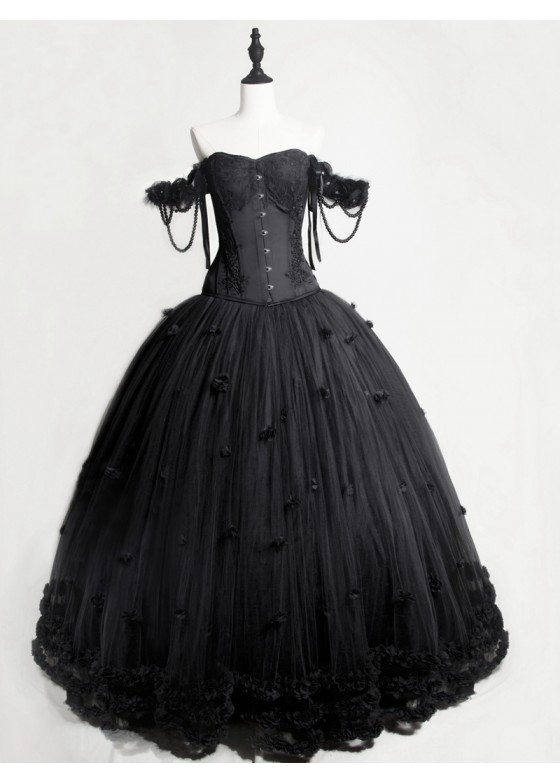 Black Gothic Flower Off-the-Shoulder Corset Prom Long Dress D1050
