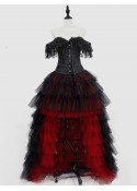Black and Red Gothic Burlesque Corset Prom Party High-Low Dress D1-052