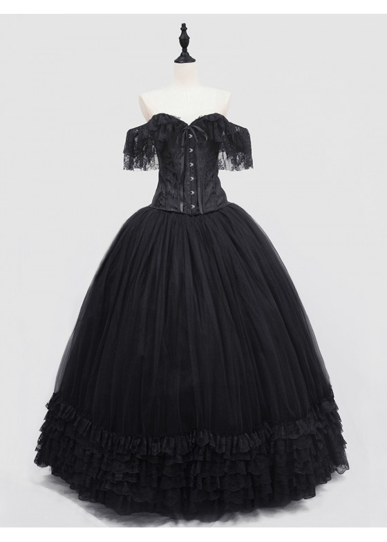 Black Off-the-Shoulder Gothic Lace Corset Long Prom Ball Dress D1053